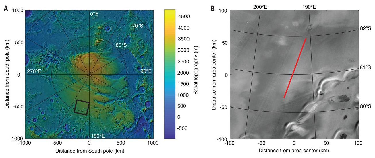 La zona del Planum Australe dove sarebbe stata ritrovata l'acqua su Marte