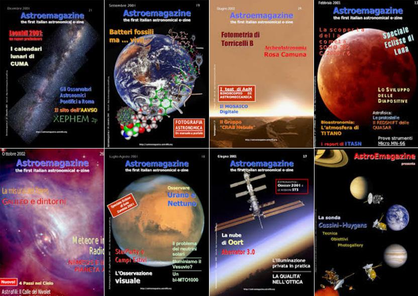 Alcune copertine della rivista AstroEmagazine