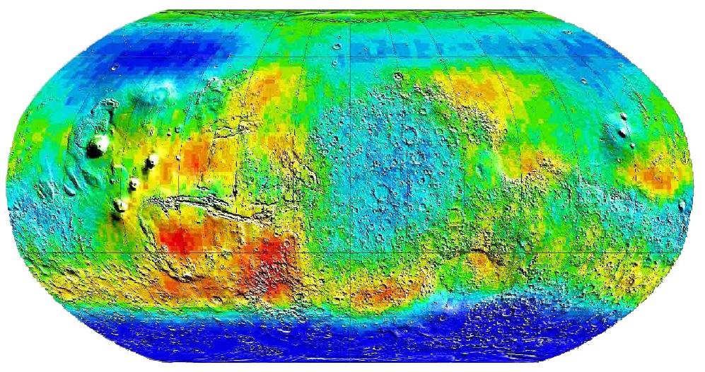 Mappa di Marte in falsi colori con le aree ricche di idrogeno in blu scuro
