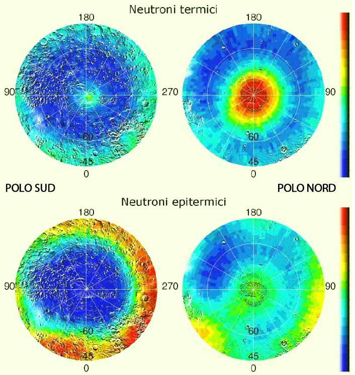 Quattro viste polari di Marte elaborate con i dati ricevuti dal rilevatore di neutroni a bordo della Mars Odyssey