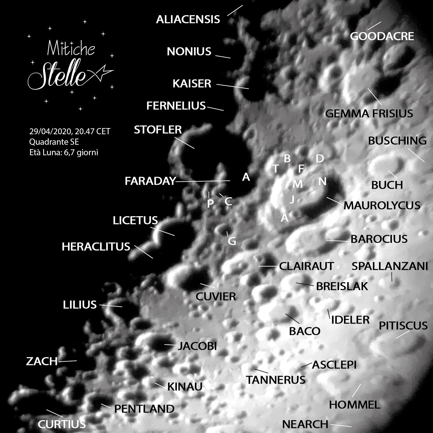 Le coppie di crateri Maurolycus-Barocius e Stofler-Faraday fotografaci con telescopio e cellulare il 29 Aprile 2020
