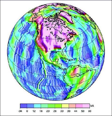 Orientamento a bande del campo magnetico nelle rocce dei fondali dell'Oceano Pacifico e dell'Oceano Atlantico
