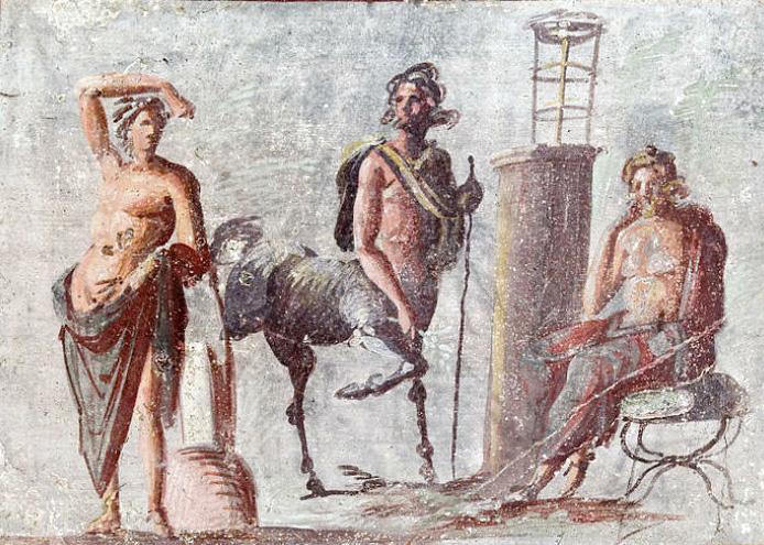 Apollo, Chirone e Asclepio - Dipinto ritrovato a Pompei - MAN Napoli