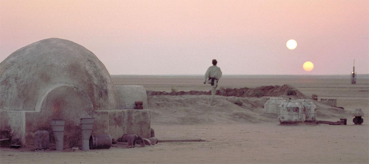 Tramonto su Tatooine, una delle scene più iconiche della saga di Star Wars
