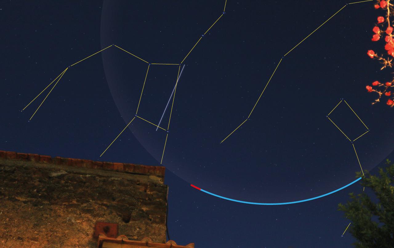 Il grande arco dell'orsa Maggiore come apparirebbe nel cielo se fosse visibile a occhio nudo