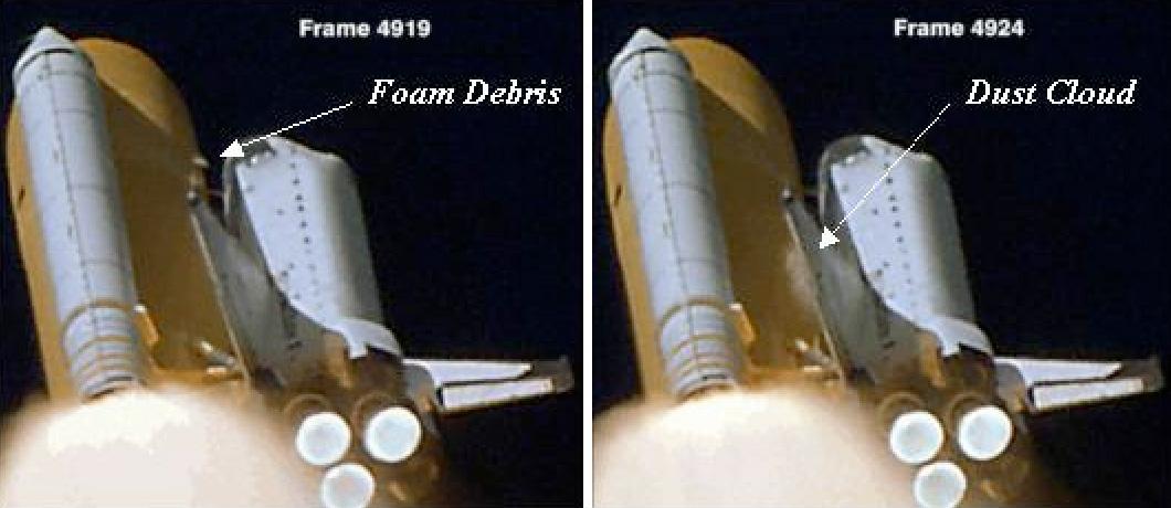 Il distacco della schiuma dal serbatoio centrale e l'impatto successivo sull'ala sinistra dello Shuttle Columbia