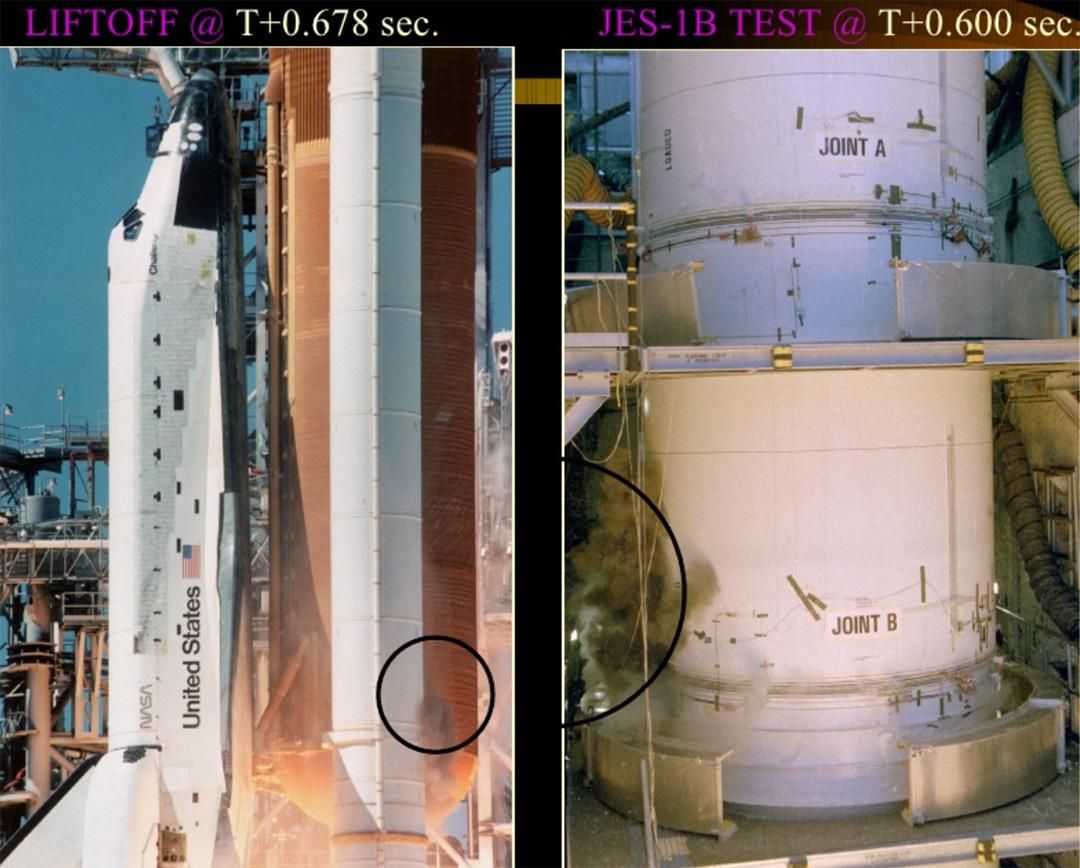 Le fasi iniziali della rottura dell'O-ring nel booster di destra durante il lancio dello Shuttle Challenger