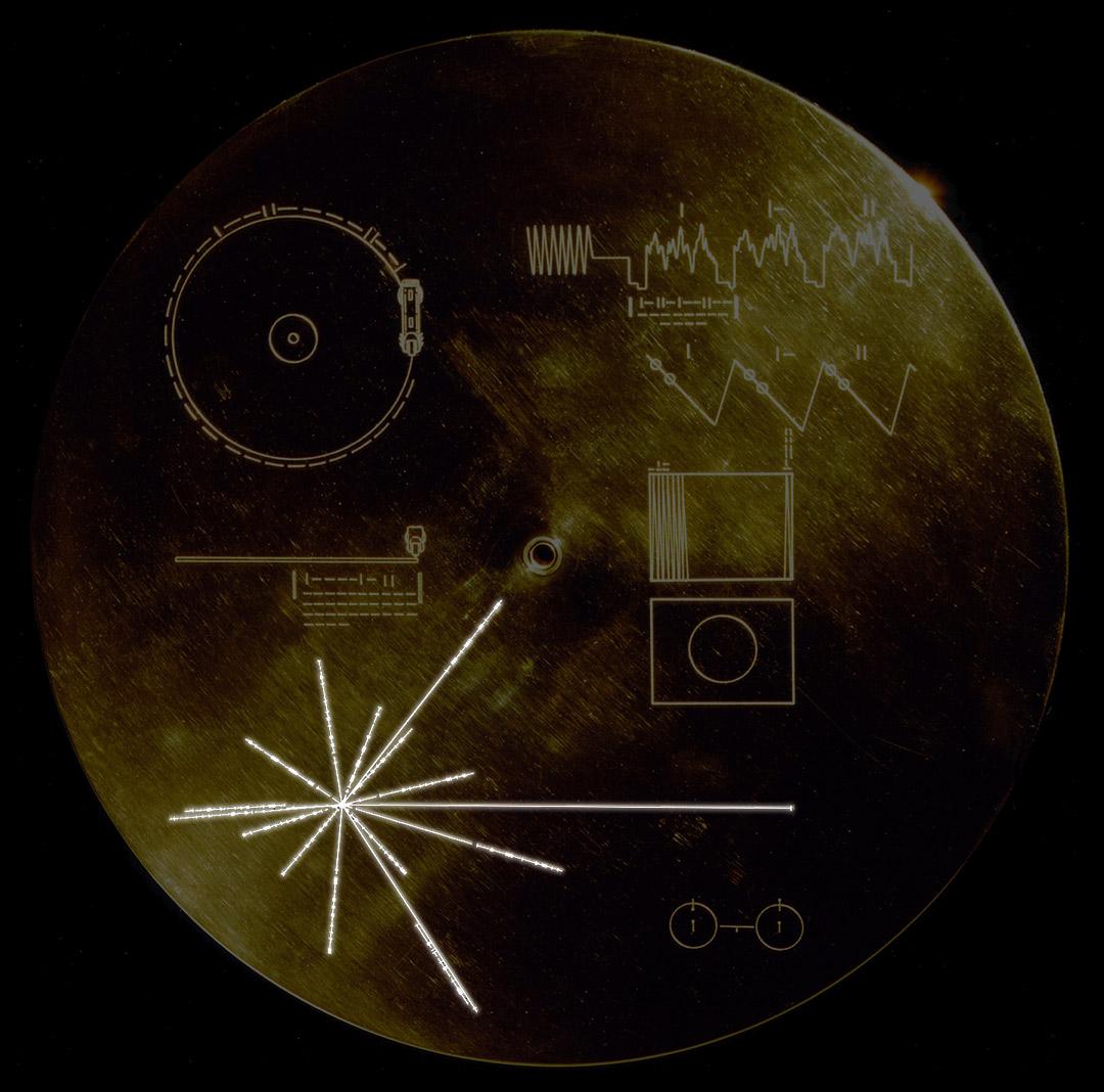 La mappa tridimensionale incisa sul disco d'oro delle Voyager che indica agli alieni come trovare il nostro Sole